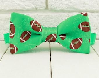 American football Bow tie, Green bowtie, Sports pattern