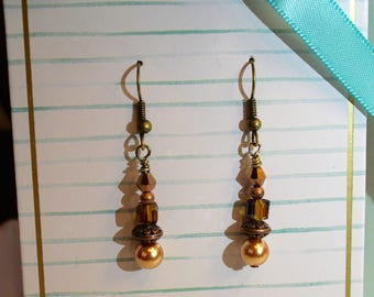 Bronze Crystal & Glass Pear Earrings Mounted on a Sweet Gift Card with Matching Note/Card and Envelope