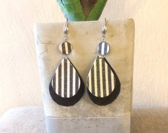 Black and White Stripe Earrings