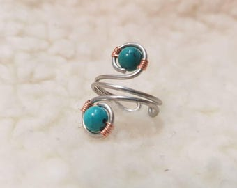 Handmade Stainless Steel Ring Topped off with 2 Genuine Turquoise Gemstones