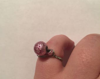Shimmering pink wire wrapped ring