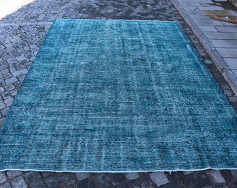Incredible sizes Overdyed Rug Free Shipping 6.9 x 10.3 ft. Turkish rug, large area hall rug, handknotted floor rug, blue color rug, MB325