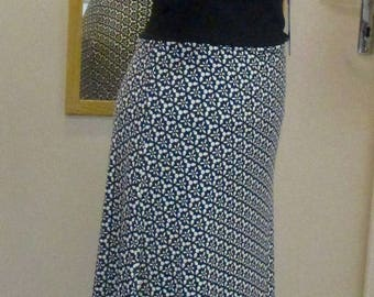 skirt flamenco graphic black and white