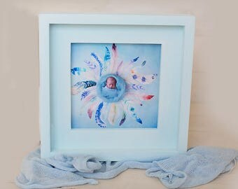 Baby Blue square picture frame hand made from pine wood 6x6 also available in 12x12, or made to requested size and colour. New baby frame