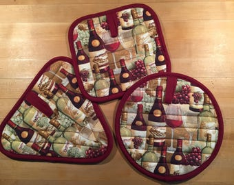 Custom Quilted Potholders, set of 3
