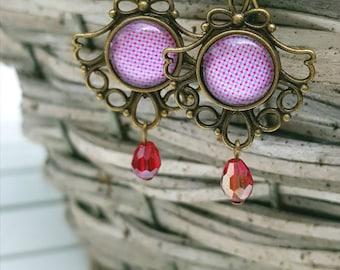 Handmade Earrings Victorian Dot