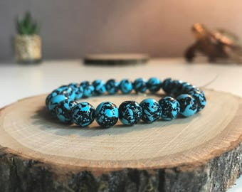 Blue and black bohemian hippie bracelet