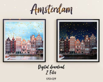 Amsterdam City Digital Poster, Printable Artwork, Contemporary Art