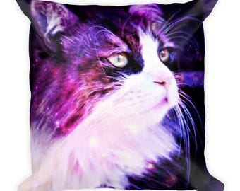 Galaxy Cat Square Pillow