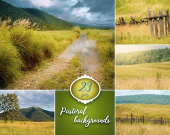 23 Summer digital backgrounds, rural backdrop, field background, nature, pastoral, grass backdrop, fence background, spring, village