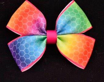 Rainbow Honeycomb Print Hair Bow 4in / 10cm
