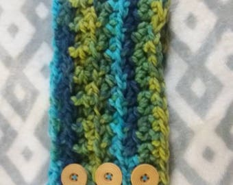 Multicolor Ear Warmer Headband with Buttons