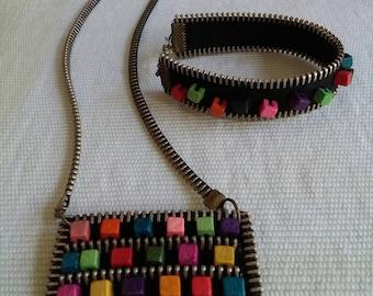 Jewelry Set - Necklace and Bracelet-Zipper Jewelry- Wooden beads