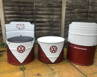 Vw Volkswagen oil drum chair and table set