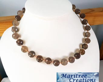Classy wire wrap designed necklace with Smokey Quartz gemstones.