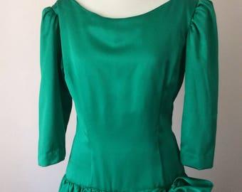 Emerald Green Dress 80s 3/4 Sleeve