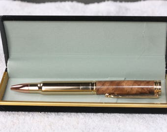 Hand Turned Black Walnut Magnum Bullet Cartridge Pen in a Black Velour Case