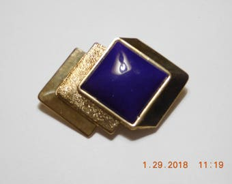 Vintage Geometric Gold Tone Broach with Large Square Purple Stone