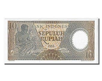 indonesia 10 rupiah 1963 km #89 unc(65-70) xec082076