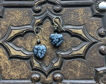 One of a kind snowflake obsidian pierced earrings