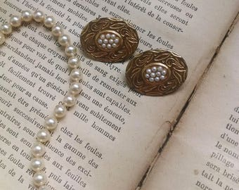 Vintage clips on earrings with tiny pearls