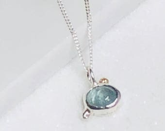 silver & 9k gold aquamarine  necklace