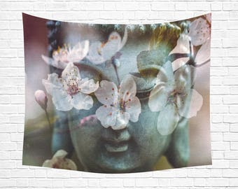 "Buddha Flowers Wall Tapestry 60""x 51"" (2 colors)"