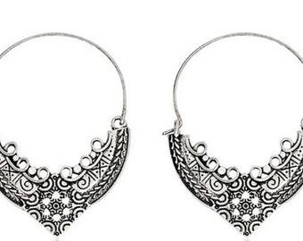 Ethnic earrings - Hippy earrings - Boho jewellery - Tribal hoop earrings