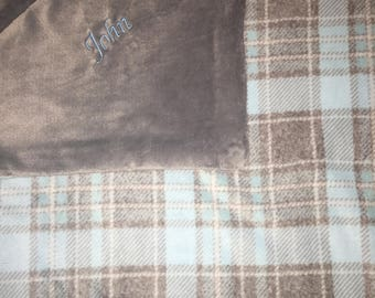 Blue and Gray Plaid baby blanket