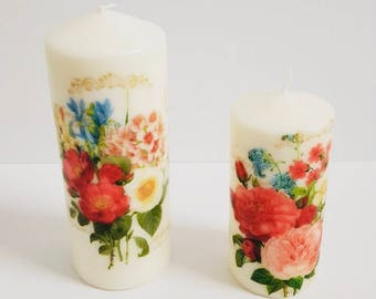 unscented Pillar Candles ,set of 2 candles, spring blossom, Gift Giving, Favors and Occasions
