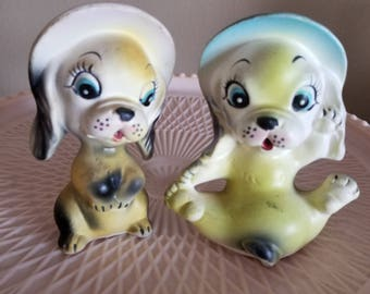 Cute Yellow Puppy Salt and Pepper Shakers with Pink and Blue Bonnet Japan Chalkware