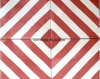 Chevron red cement tiles