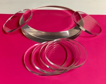 "Acrylic/Lucite Laser cut Display Discs - 10"" diameter x 3/16"" thick - Qty of 5"