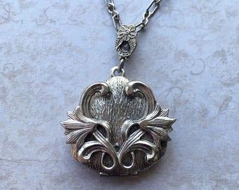 Vintage Art Deco Silver Locket Necklace