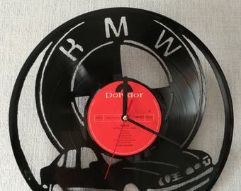 Upcycling records-wall clock from vinyl - motive BMW