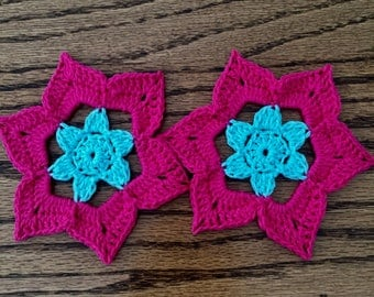 Pink and blue flower coaster