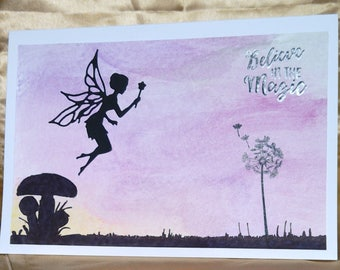 """Handmade Twilight Fairy """"Believe in the magic"""" card, waiting to be personalised"""