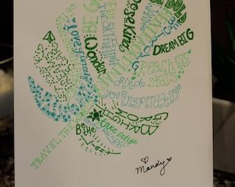 hand drawn inspirational word art tropical leaf