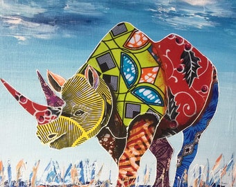 Fashion rhino,African art,African painting,Acrylics  and fabric on canvas,Hand painting.