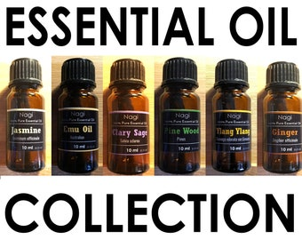 Essential Oils Set of 6 Jasmine,Emu Oil,Clary Sage,Pinewood,Ylang Ylang,Ginger Great Gift