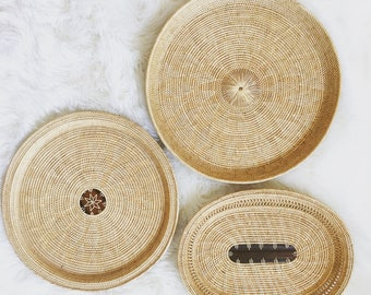 Set of 3 woven wall baskets/ trays