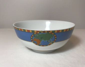 Tiffany & Co Japan Porcelain World Map/Compass Bowl