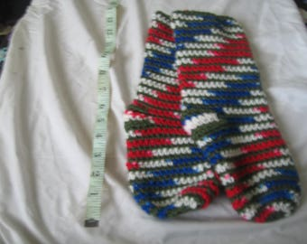 Red, white and blue slippers