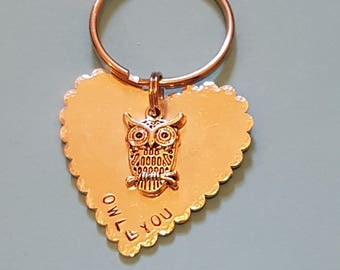 Keyring,handstamped,keepsake,owls,love,mothers day,fathers day,Valentine,Personalised,hearts