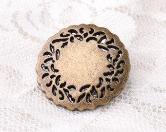 10pcs 23*8mm hollow out buttons bronze metal zinc alloy buttons round shank buttons garment accessories