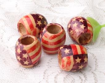 American flag beads barrel wood beads 10pcs 15x16mm large hole beads wood beads macrame beads stringing beads