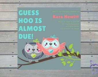 Cute Twins Gender Reveal Neutral Cute Funny Personalized Print Yourself Downloadable Owl Baby Shower Invitation