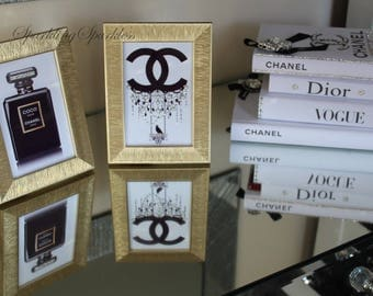 Chanel Inspired Decor Gold Photo-Frames with crystals (SET OF 2)