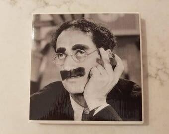 Groucho Marx Ceramic Tile Coaster