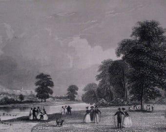 1851 St James Park, London View. Antique Original Engraving. England Britain, UK United Kingdom.